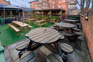 Beer Garden at the Fletcher Moss Pub in Didsbury